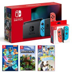 Nintendo Switch Console Neon Red/Neon Blue with Paw Patrol Mighty Pups, Minecraft, Family Trainer and Joy-Con Controller Pair Neon Red/Neon Blue