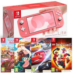 Nintendo Switch Lite Console - Coral with All Star Fruit Racing (CIAB), Songbird Symphony (CIAB), Cars 3 (CIAB) & LEGO Incredibles (CIAB) (Switch)