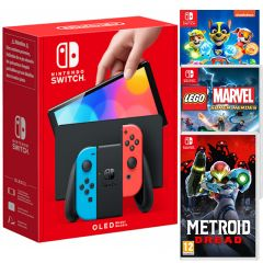Nintendo Switch Neon Red/Neon Blue OLED Console with Metroid Dread, LEGO Marvel Super Heroes (Code in a Box) and Paw Patrol Mighty Pups Save Adventure Bay (Switch)
