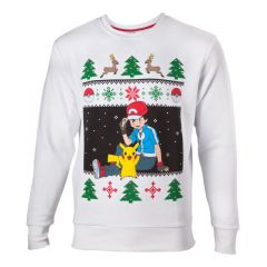 POKEMON Men's Ash & Pikachu Christmas Jumper, Large, White