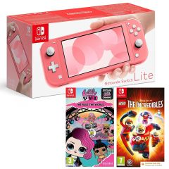 Nintendo Switch Lite Console - Coral with L.O.L. Surprise! Remix Edition: We Rule the World & LEGO The Incredible (Code in a Box) (Switch)