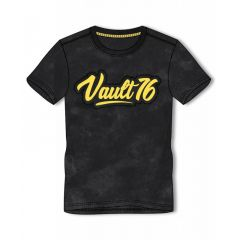 FALLOUT 76 Vault 76 Logo Oil Washed T-Shirt, Male, Medium, Black