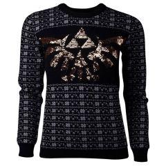 NINTENDO Legend of Zelda Glitter Tri-force Christmas Knitted Sweater, Female, Extra Large, Black