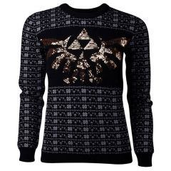 NINTENDO Legend of Zelda Glitter Tri-force Christmas Knitted Sweater, Female, Large, Black