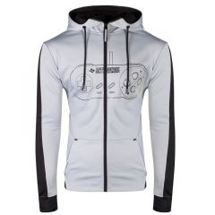 SNES Controller Front Outline Zipper Full Length Hoodie - Large