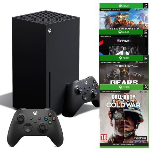 Xbox Series X Console with Carbon Black Wireless Controller, Immortals: Fenyx Rising, FIFA 21 NXT LVL, Gears Tactics & Call of Duty Black Ops Cold War
