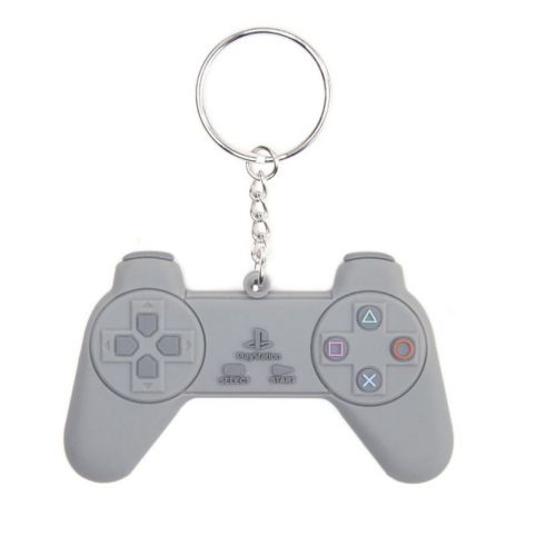 SONY PlayStation Rubber Resin PlayStation One Gaming Controller Model Keyring, Grey