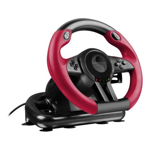 SPEEDLINK Trailblazer Vibration Effect Racing Wheel with Pedals for PlayStation PS4/PS3/PC (Black/Red)