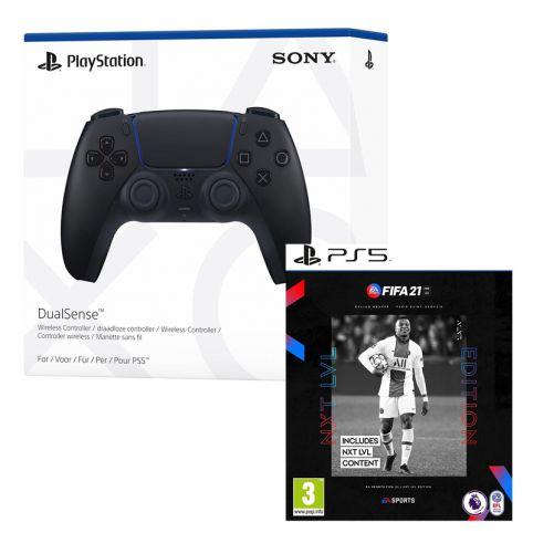 PlayStation 5 DualSense Controller - Midnight Black & FIFA 21 NXT LVL (PS5)
