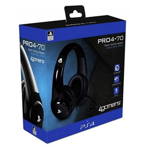 4Gamers PRO4-70 Wired Stereo Gaming Headset Black (PS4)