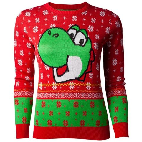 NINTENDO Super Mario Bros. Yoshi Christmas Knitted Sweater, Female, Large, Red/Green