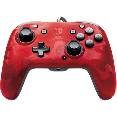 PDP Face Off Deluxe Switch Controller With Audio Jack - Camo Red (Switch)