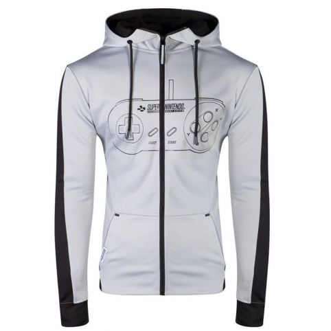 SNES Controller Front Outline Zipper Full Length Hoodie - Small