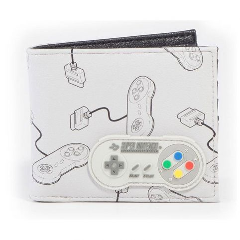 SNES Controllers All-Over Print with Rubber Patch Bi-fold Wallet