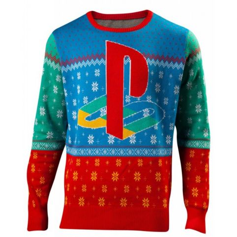 SONY Playstation Tokyo Christmas Knitted Sweater, Unisex, Large, Multi-colour