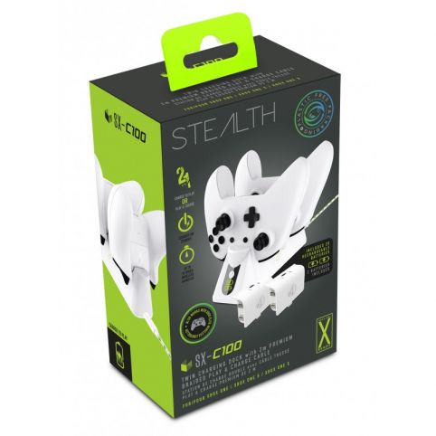STEALTH SX-C100 Twin USB Charging Dock and Play & Charge Cable - White (Xbox One)